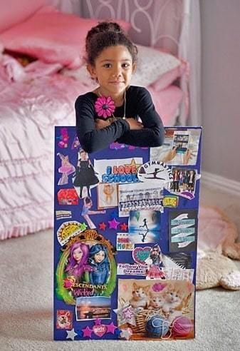 a girl sharing her vision board