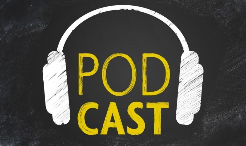 The word Podcast in yellow on a black background