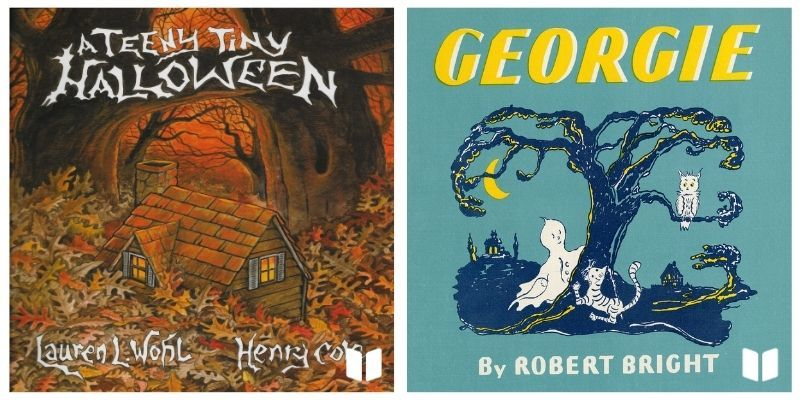 Teeny Tiny Halloween audiobook cover and Georgie audiobook cover
