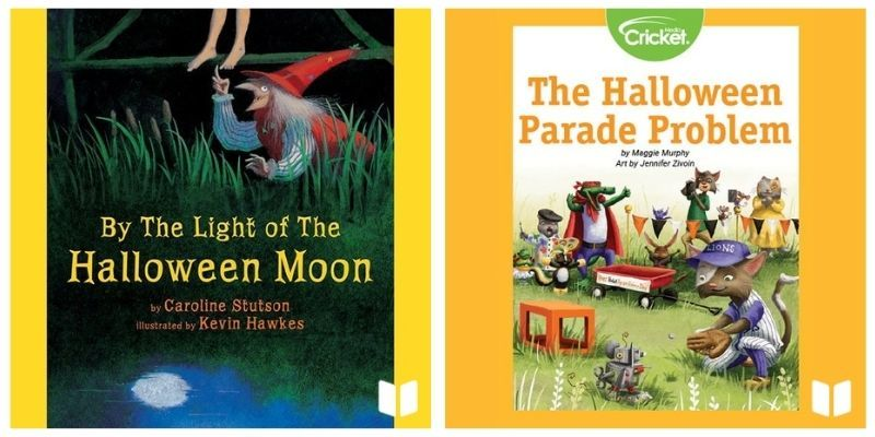By the Light of the Halloween Moon audiobook cover and The Halloween Parade Problem audiobook cover