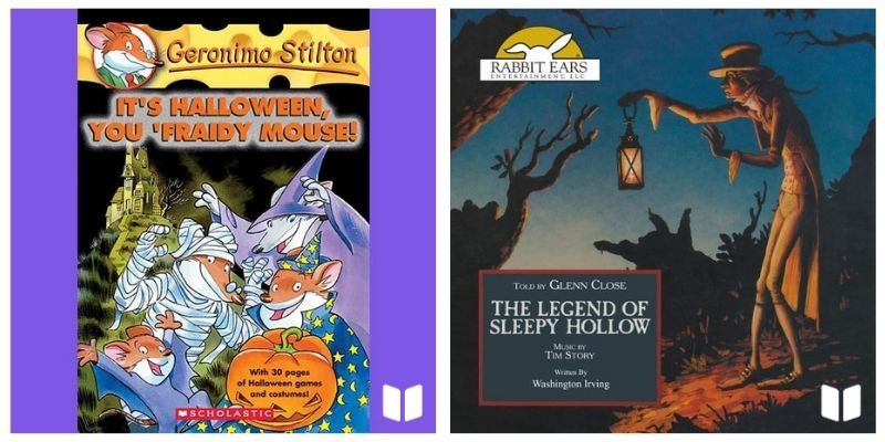 Geronimo Stilton: It's Halloween You 'Fraidy Mouse audiobook cover and The Legend of Sleepy Hallow audiobook cover